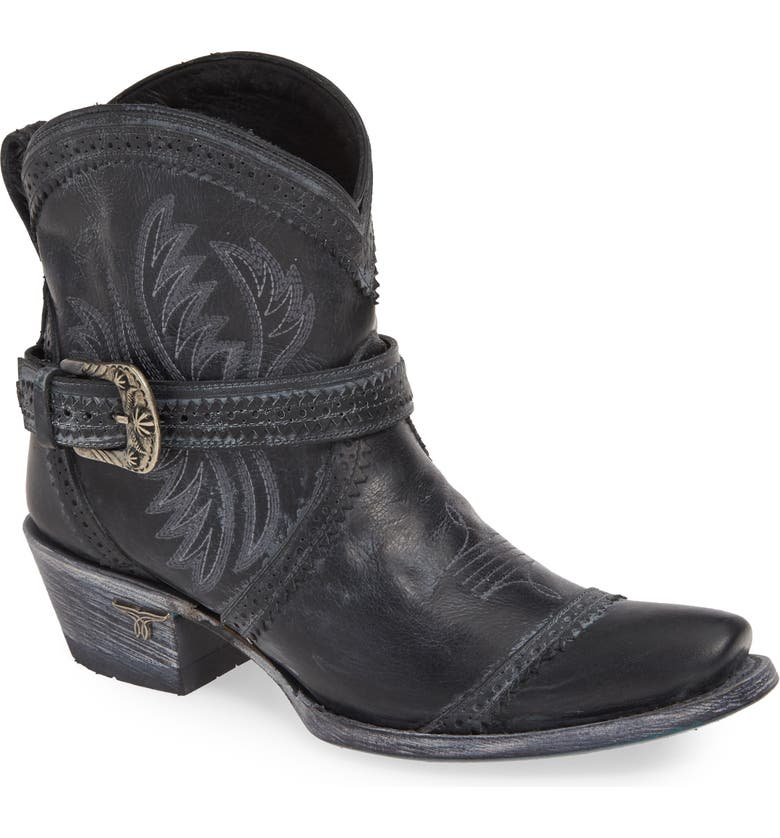 LANE BOOTS Ballyhoo Bootie, Main, color, BLACK LEATHER