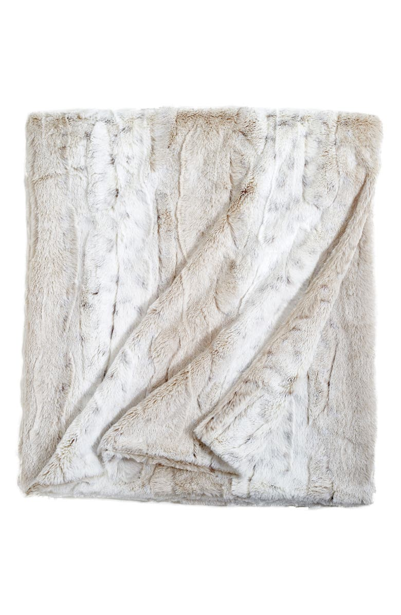 PERI HOME Faux Fur Throw Blanket, Main, color, IVORY