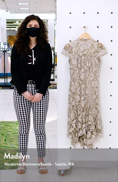 Embroidered Lace Mock Neck Dress, sales video thumbnail