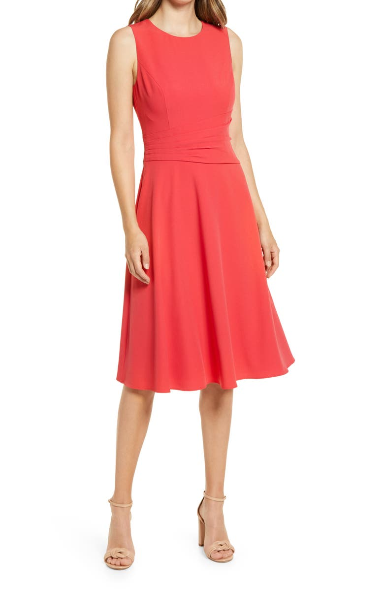 ELIZA J Ruched Fit & Flare Dress, Main, color, RED