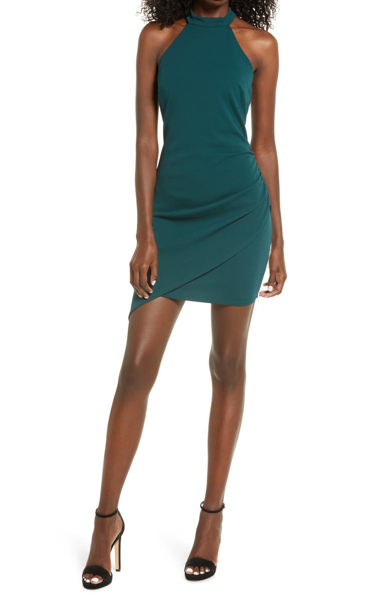 LULUS You Can't Ruche Love Halter Neck Minidress, Main, color, FOREST GREEN