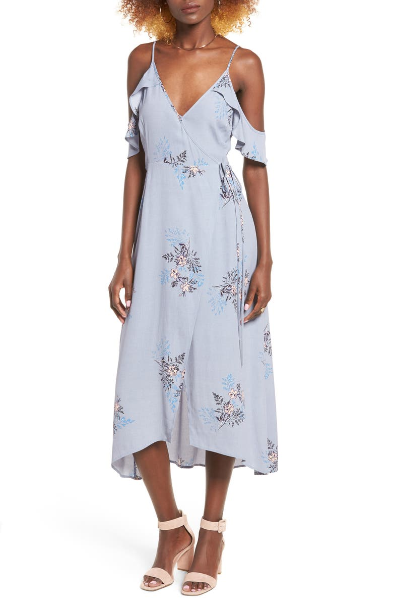 ASTR THE LABEL Gwyn Cold Shoulder Midi Dress, Main, color, PERIWINKLE FLORAL