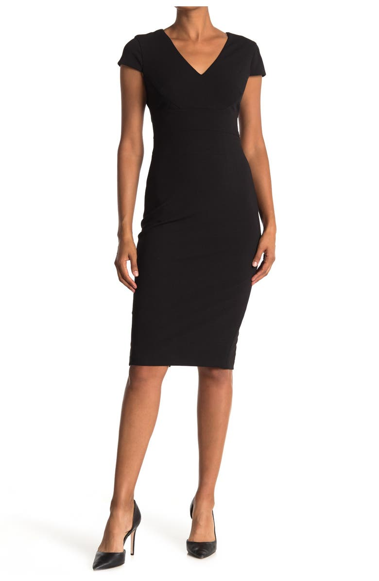 DONNA MORGAN Cap Sleeve Fitted Crepe Dress, Main, color, BLACK