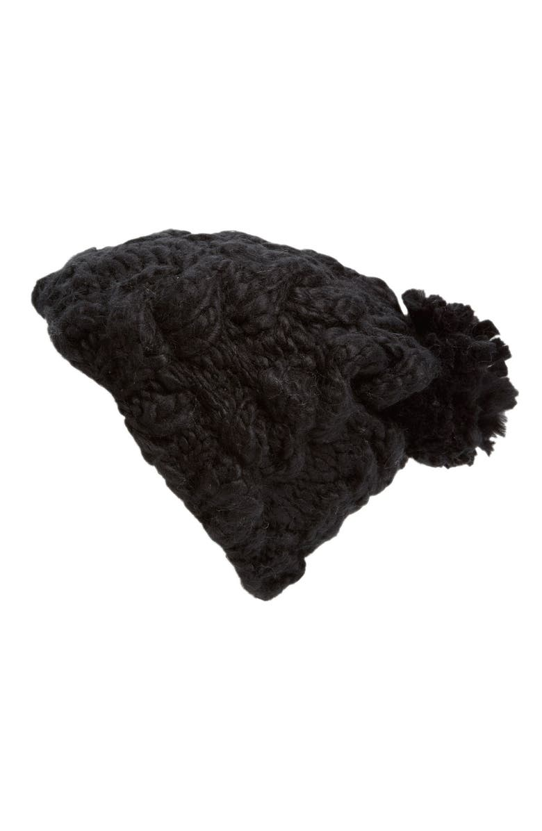 EVELYN K Knit Hat with Pom, Main, color, 001