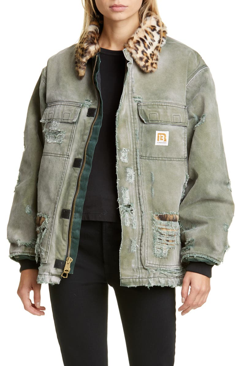 R13 Vintage Ripped Arctic Quilt Lined Jacket with Faux Fur Trim, Main, color, 020