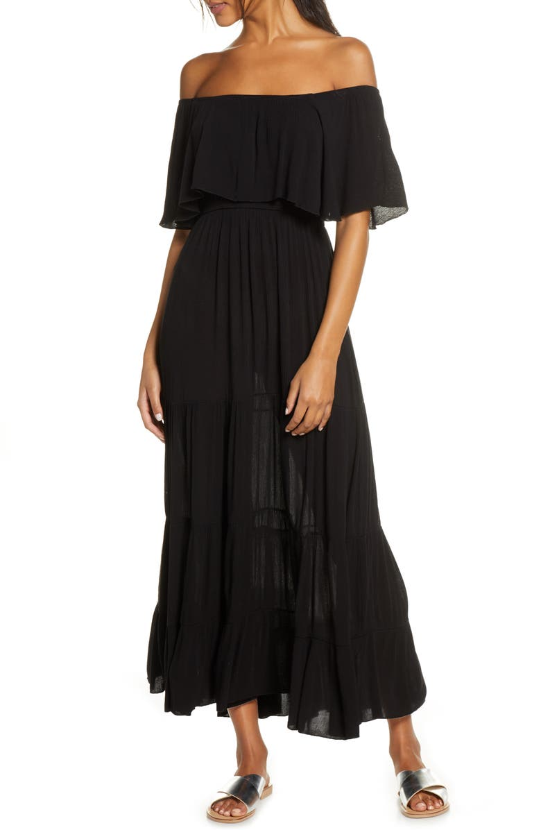 ELAN Off the Shoulder Ruffle Cover-Up Maxi Dress, Main, color, Black