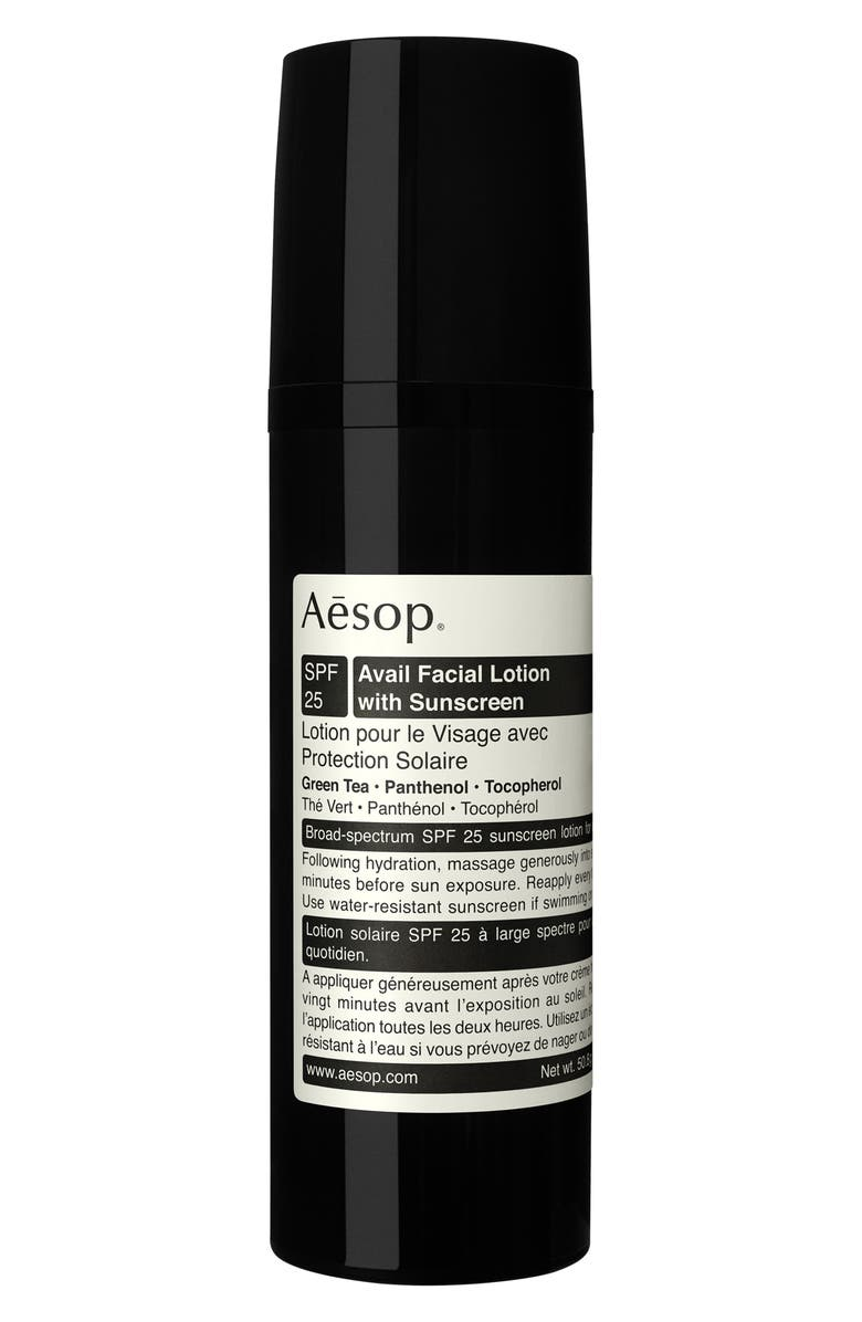 AESOP Avail Facial Lotion with Sunscreen SPF 25, Main, color, No Color