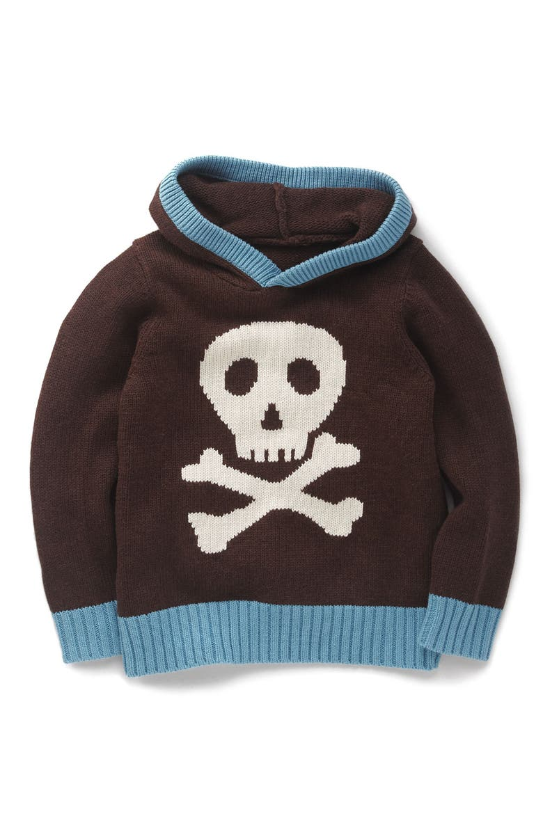 MINI BODEN Knitted Hoodie, Main, color, Brown