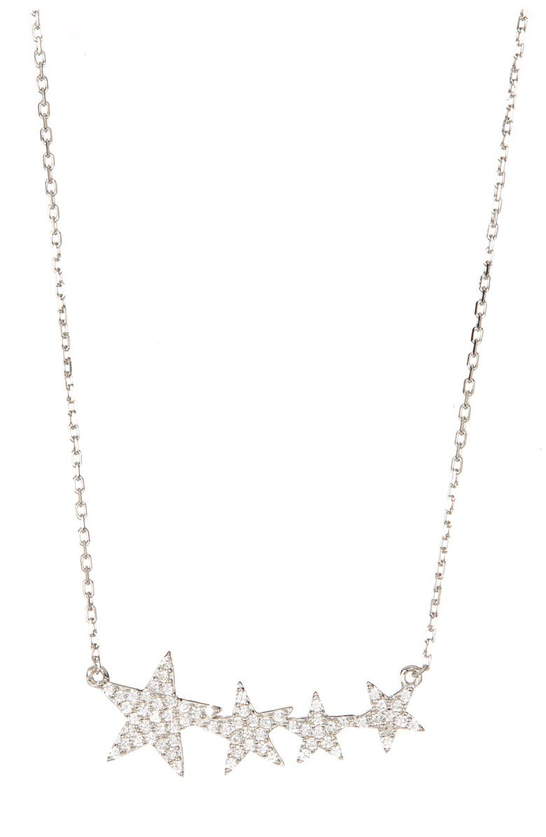 ADORNIA Sterling Silver Swarovski Crystal Accented Shooting Star Pendant Necklace, Main, color, SILVER