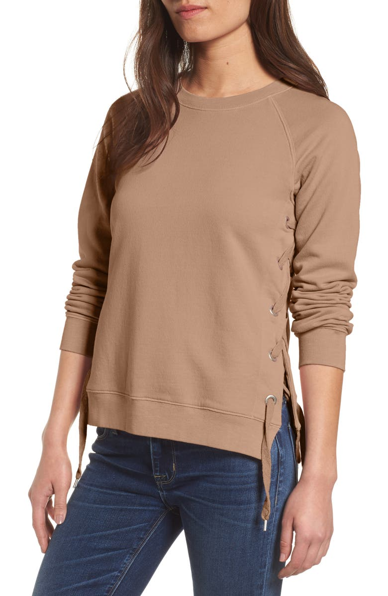 SINCERELY JULES Side-Lace Sweatshirt, Main, color, PUTTY