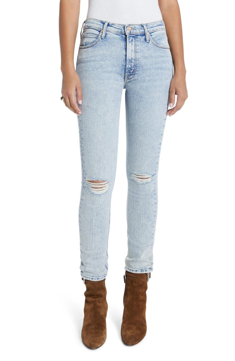 MOTHER The Mid Rise Dazzler Ripped Ankle Straight Leg Jeans, Main, color, MARRAKESH NIGHTS