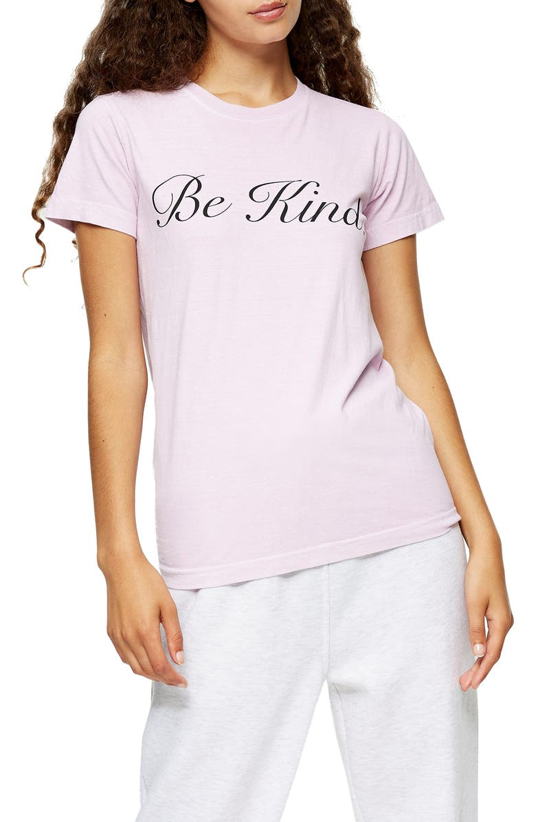 TOPSHOP Be Kind Graphic Tee, Main, color, LIGHT PINK