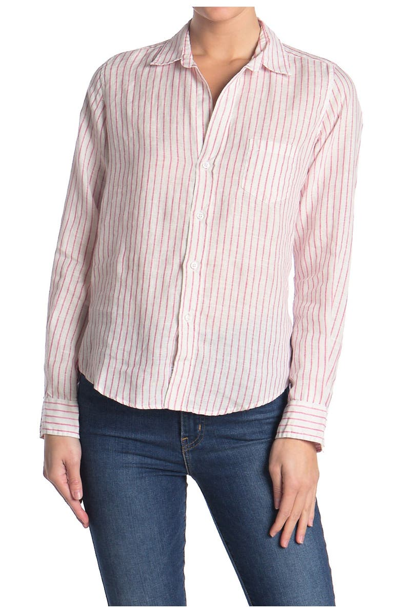 FRANK AND EILEEN Barry Striped Classic Tailored Fit Shirt, Main, color, CLASSIC PINK STRIPE LINEN