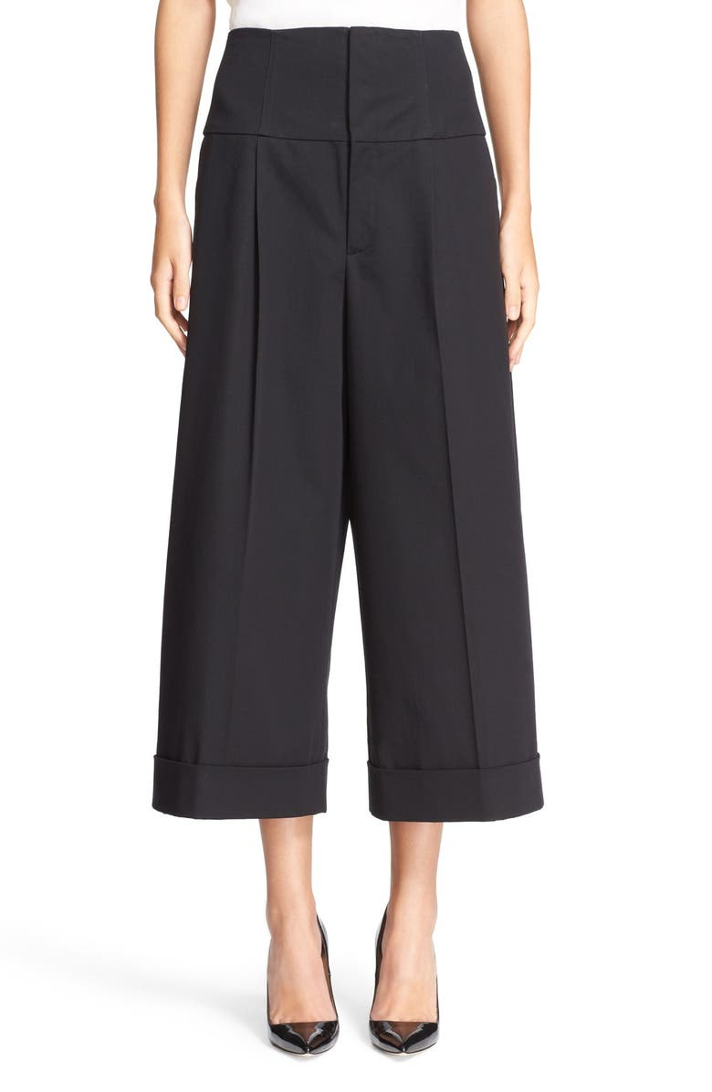RED VALENTINO Wide Leg Stretch Cotton Crop Pants, Main, color, Black