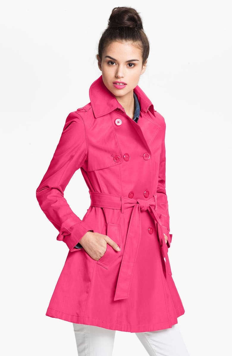BETSEY JOHNSON Lace-Up Back Trench Coat, Main, color, PROM PINK