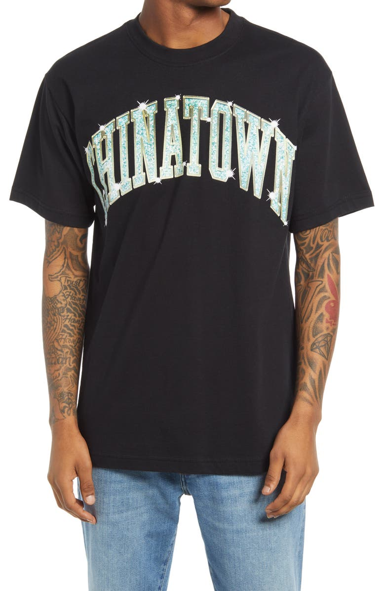 CHINATOWN MARKET Bling Arc Logo Graphic Tee, Main, color, BLACK