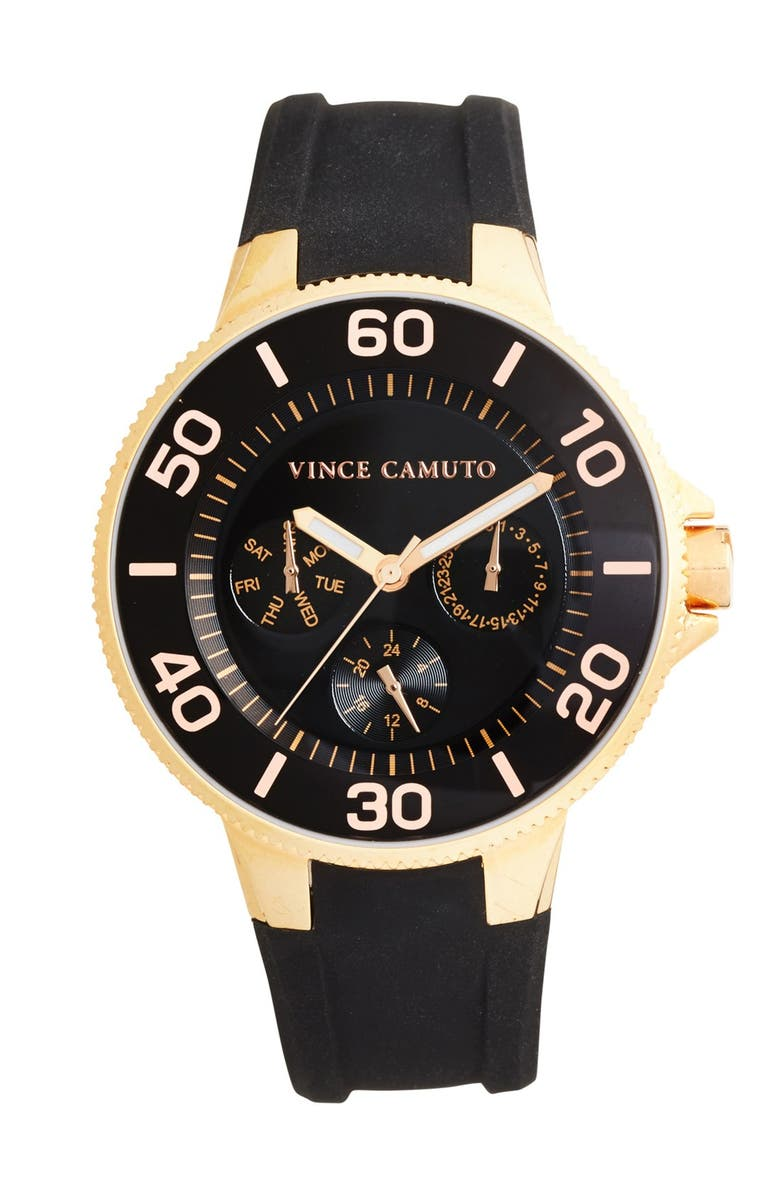 VINCE CAMUTO Silicone Strap Watch, 38mm, Main, color, 001