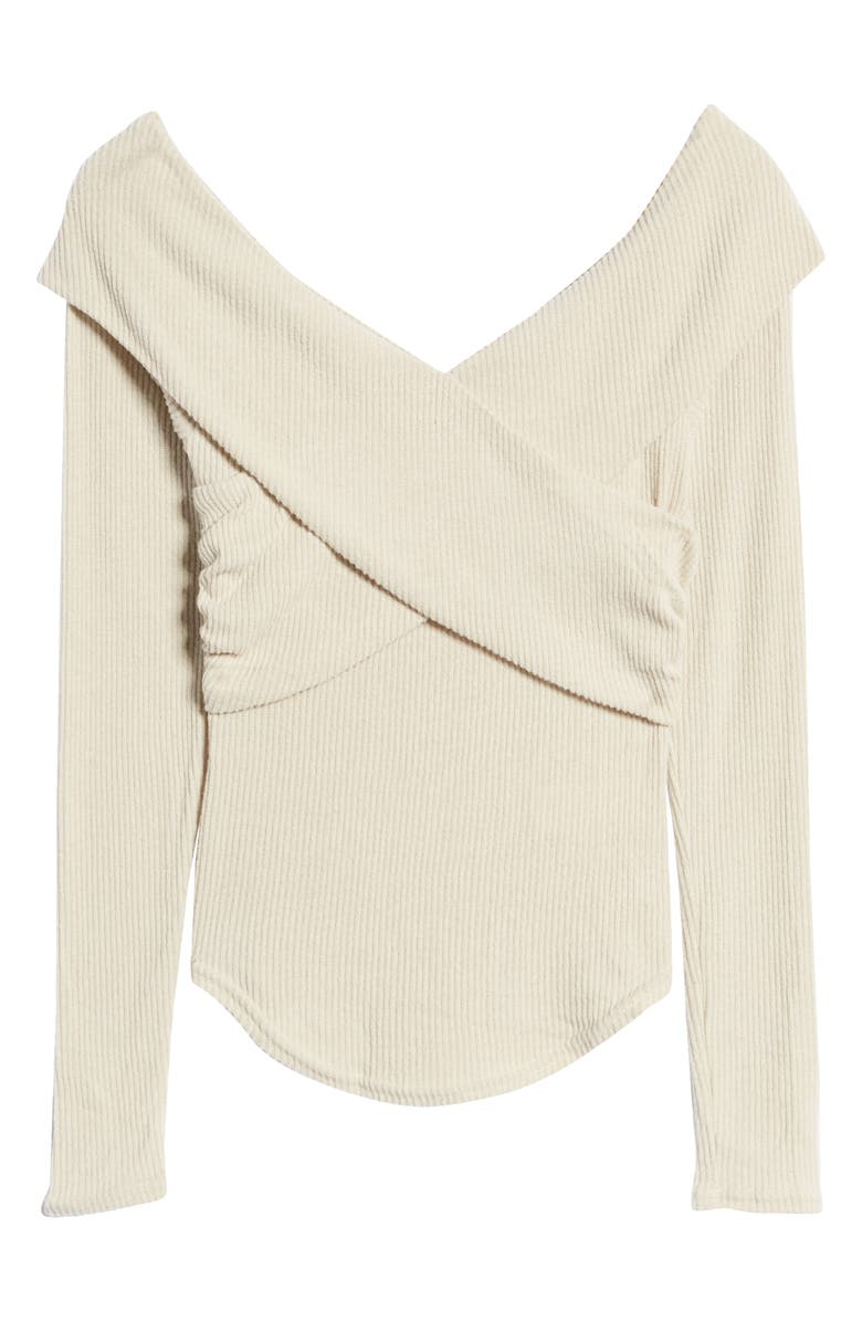FREE PEOPLE Marley Off the Shoulder Rib Top, Main, color, OATMEAL