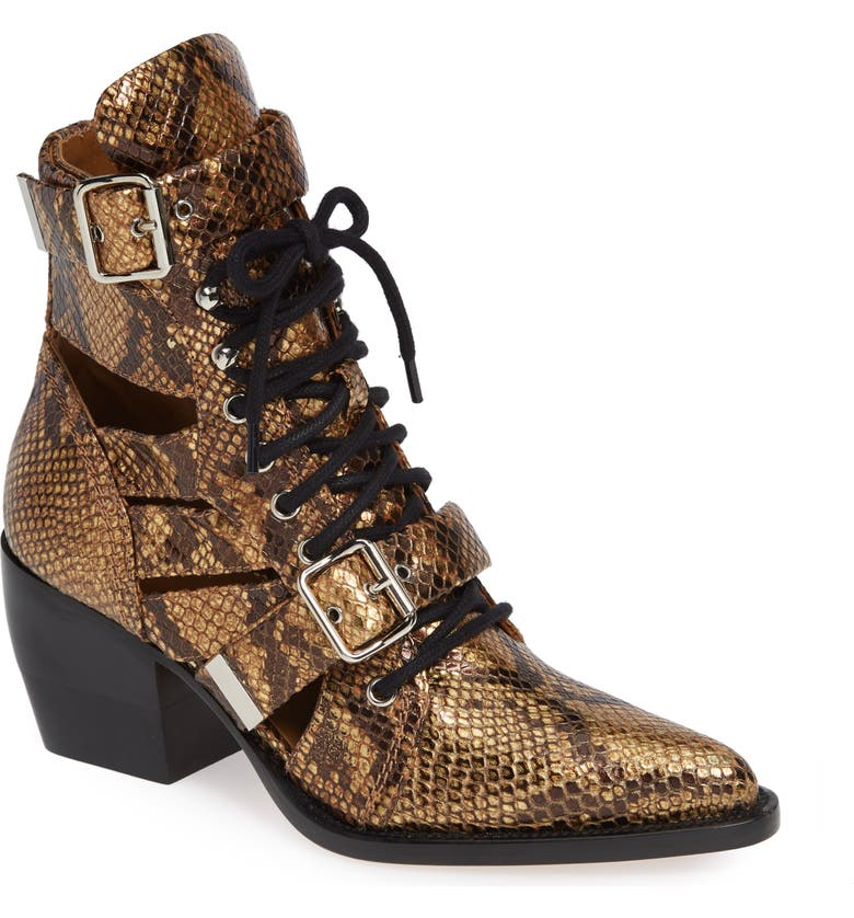 CHLOÉ Rylee Pointy Toe Cage Boot, Main, color, 200