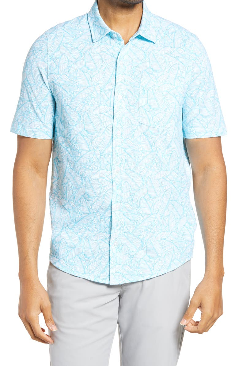 CUTTER & BUCK Reach Regular Fit Stretch Print Short Sleeve Button Down Shirt, Main, color, SUBMERGE