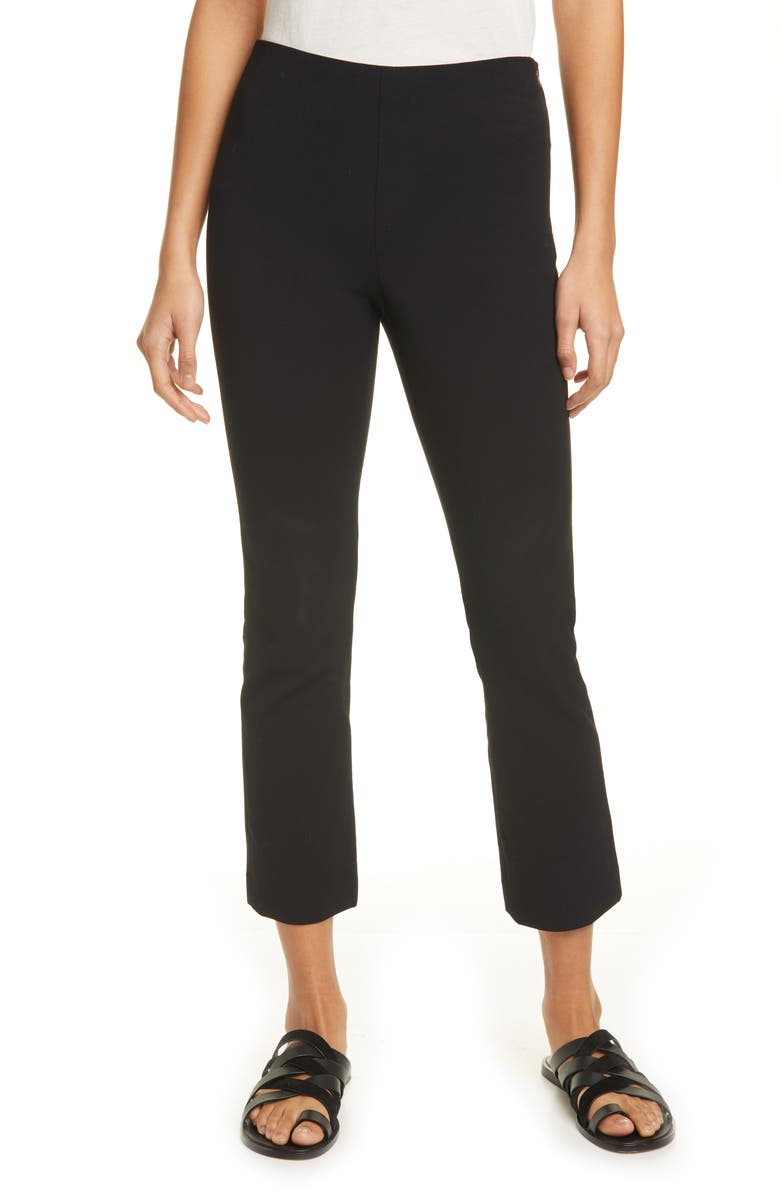 VINCE Crop Flare Trousers, Main, color, BLACK