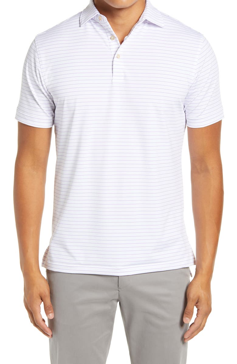 PETER MILLAR Crafty Stripe Short Sleeve Performance Polo, Main, color, WHITE/ WILD LILAC