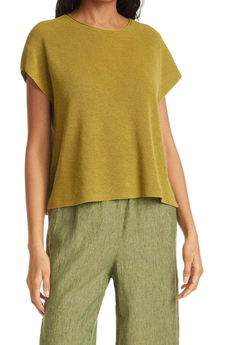 EILEEN FISHER Rib Knit Organic Linen Blend Box Top, Main, color, CORIN