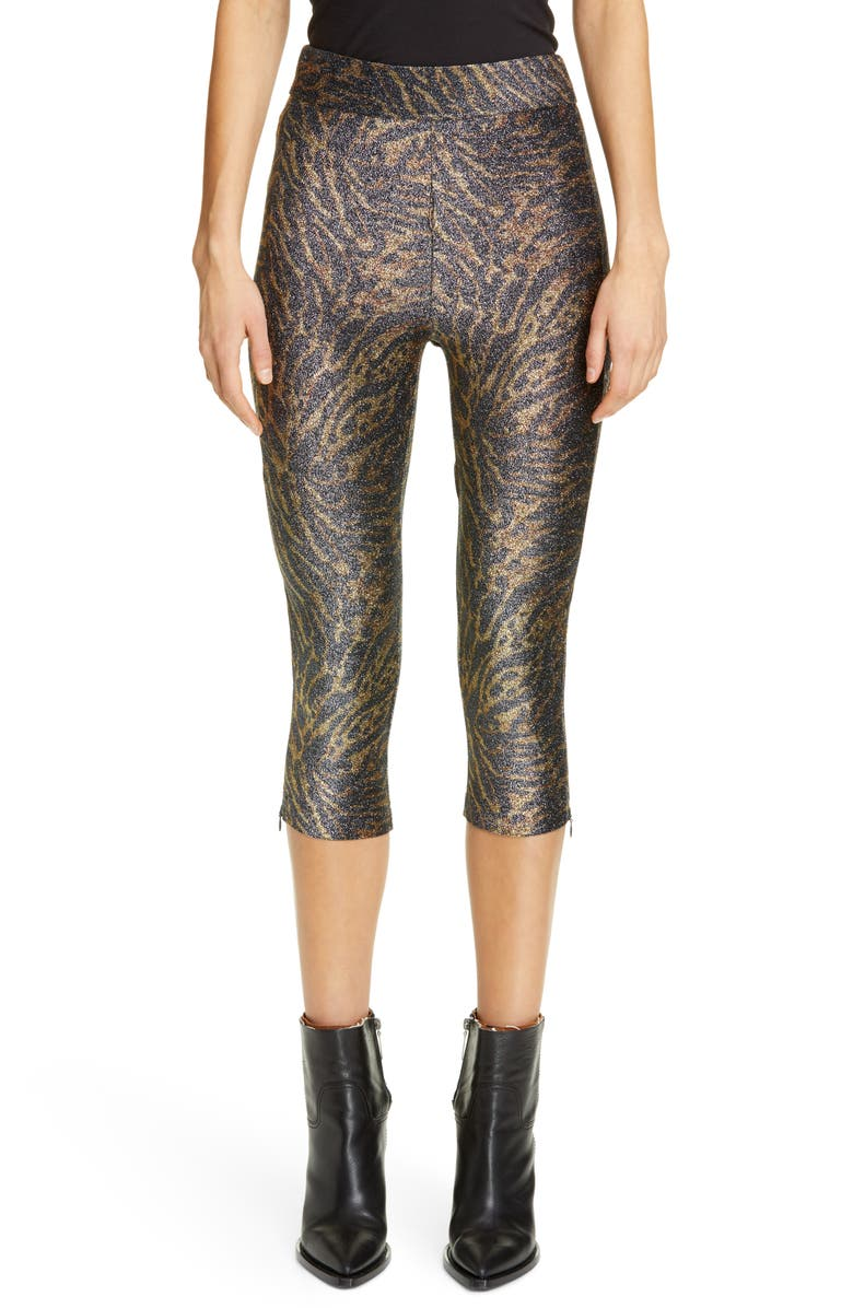 GANNI Tiger Print Metallic Jersey Crop Pants, Main, color, 200
