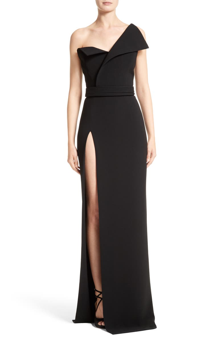 BRANDON MAXWELL Belted Foldover Neck Gown with High Slit, Main, color, 001