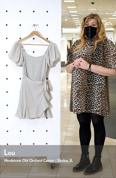 Floral Ditsy Puff Sleeve Faux Wrap Minidress, sales video thumbnail