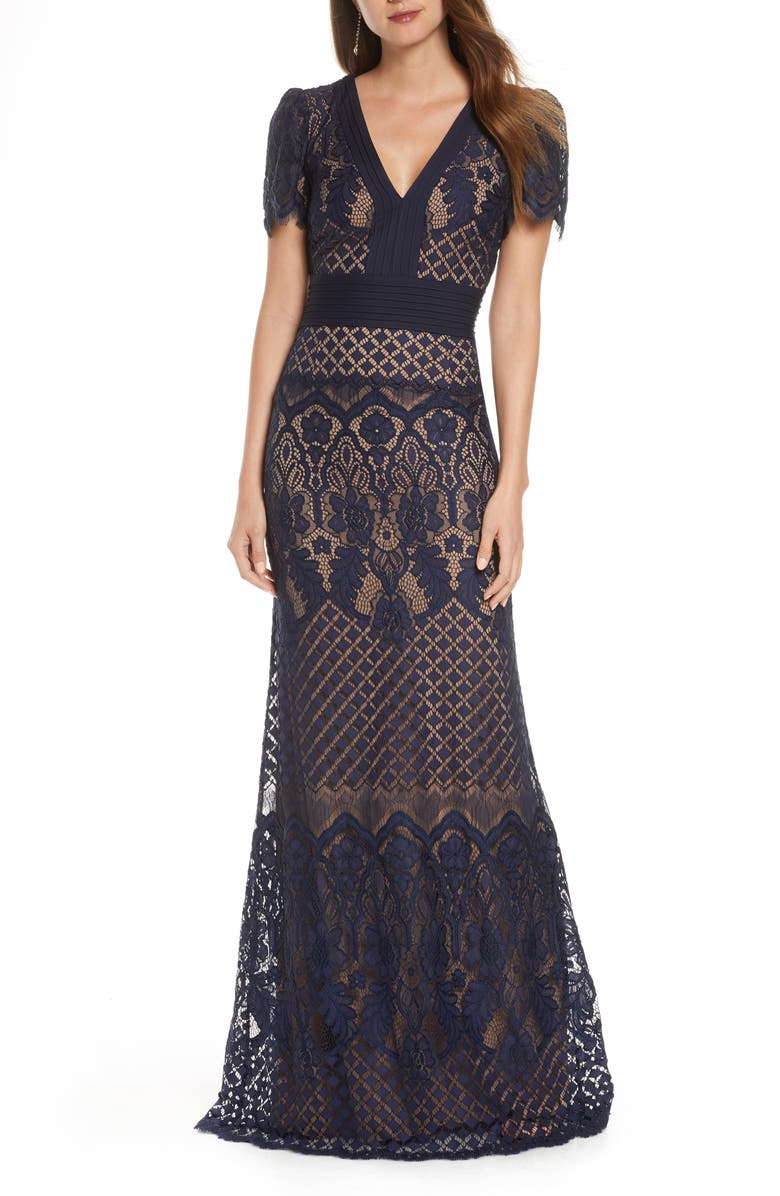 TADASHI SHOJI Embroidered Lace Evening Gown, Main, color, NAVY/ NUDE