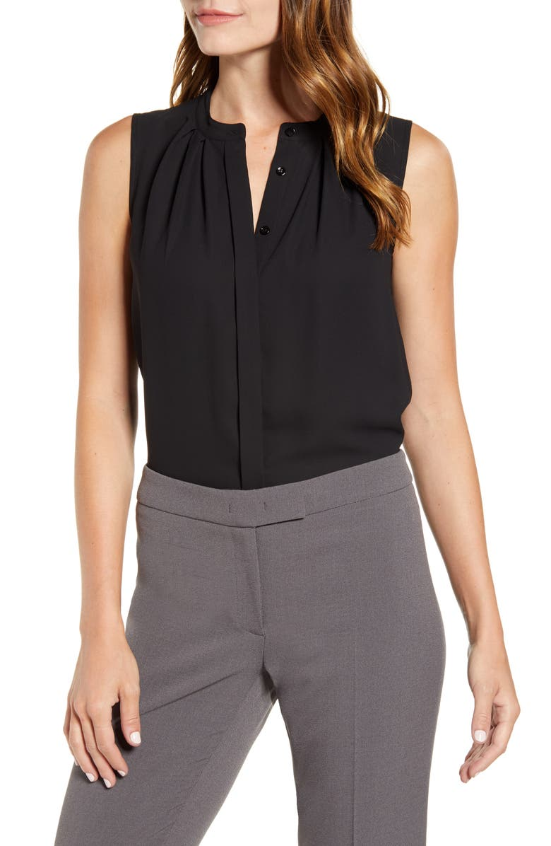 ANNE KLEIN Pleated Sleeveless Top, Main, color, 001