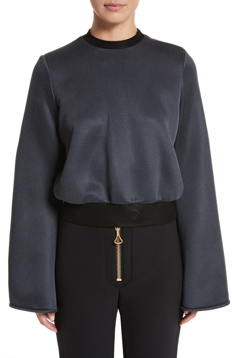 ELLERY Immortal Flare Sleeve Sweater, Main, color, CHARCOAL NAVY