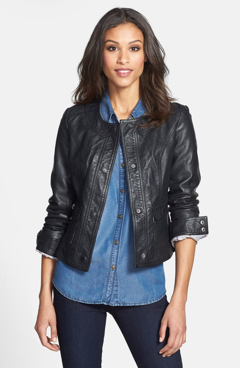 KUT FROM THE KLOTH Faux Leather Snap Front Jacket, Main, color, 002