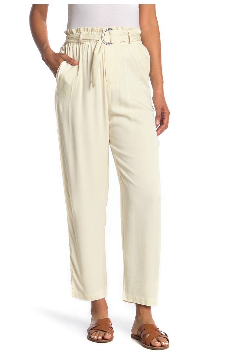 ABOUND Belted Ruffled Paperbag Pants, Main, color, IVORY DOVE