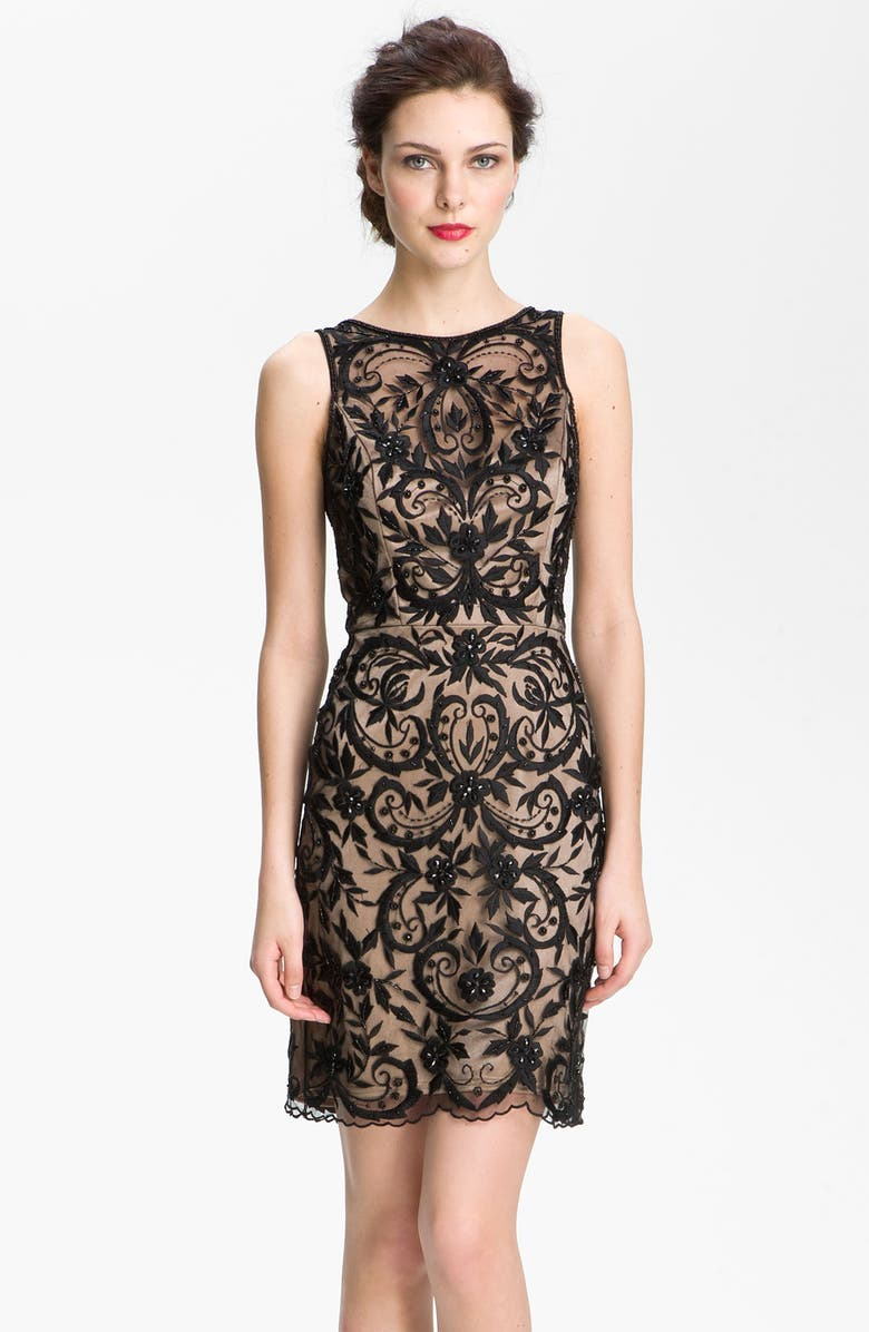 SUE WONG Embroidered Overlay V-Back Sheath Dress, Main, color, BLACK/ NUDE