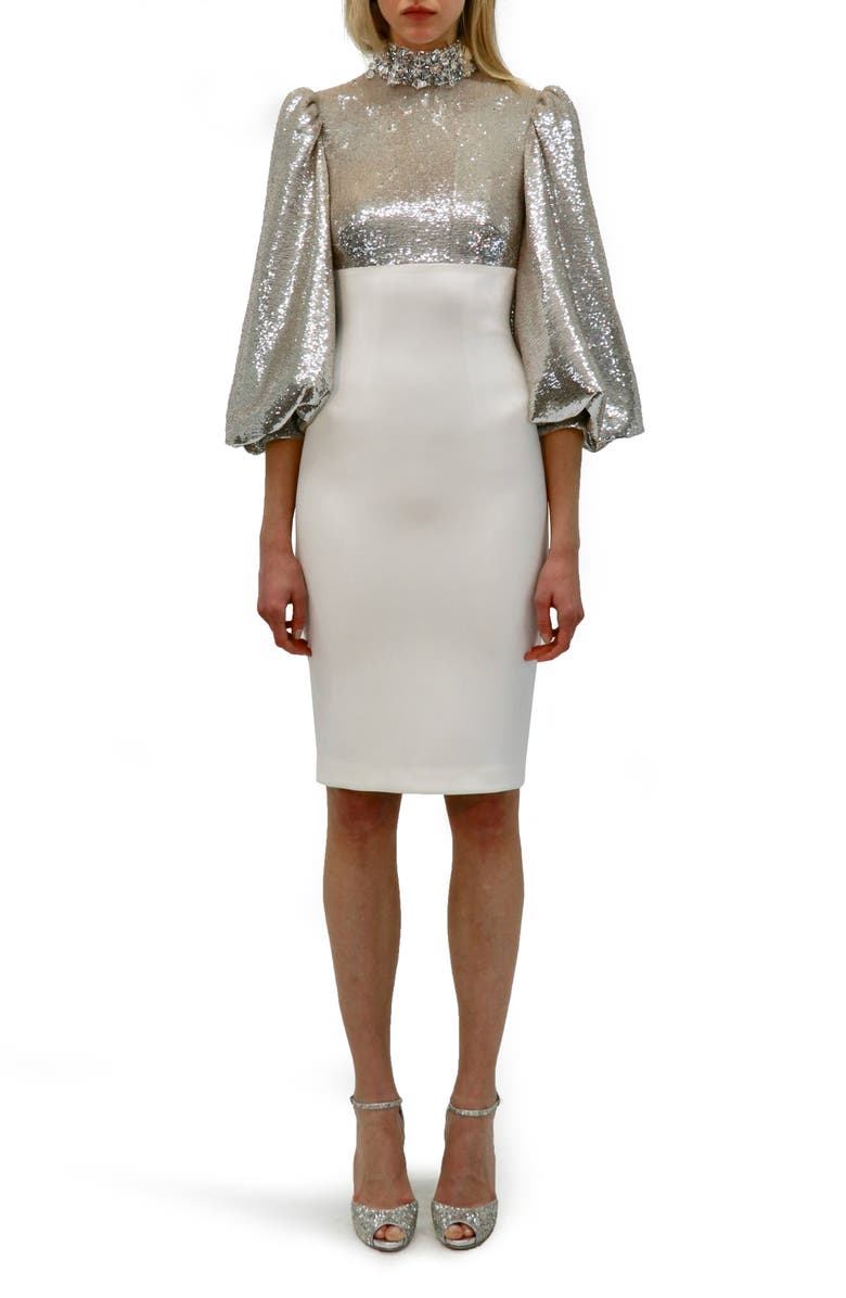BADGLEY MISCHKA COLLECTION Sequin High Neck Dress, Main, color, 900