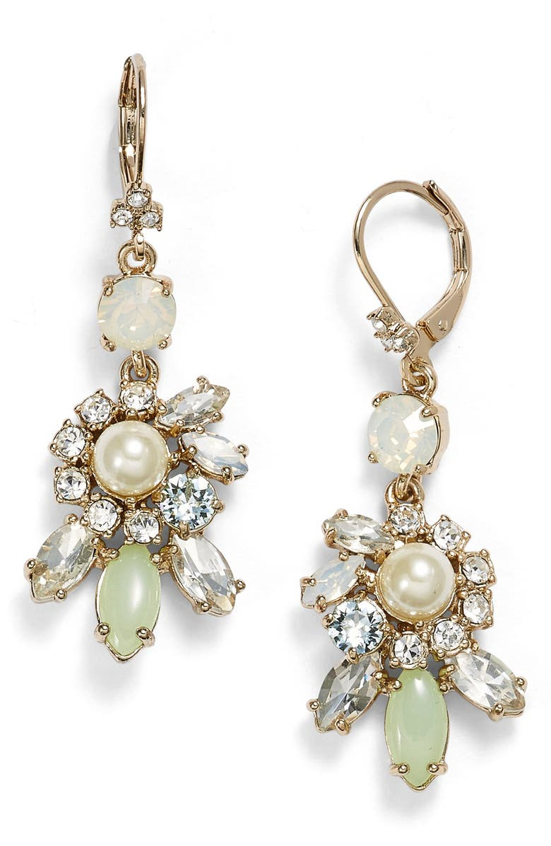 MARCHESA Faux Pearl & Crystal Cluster Drop Earrings, Main, color, 440