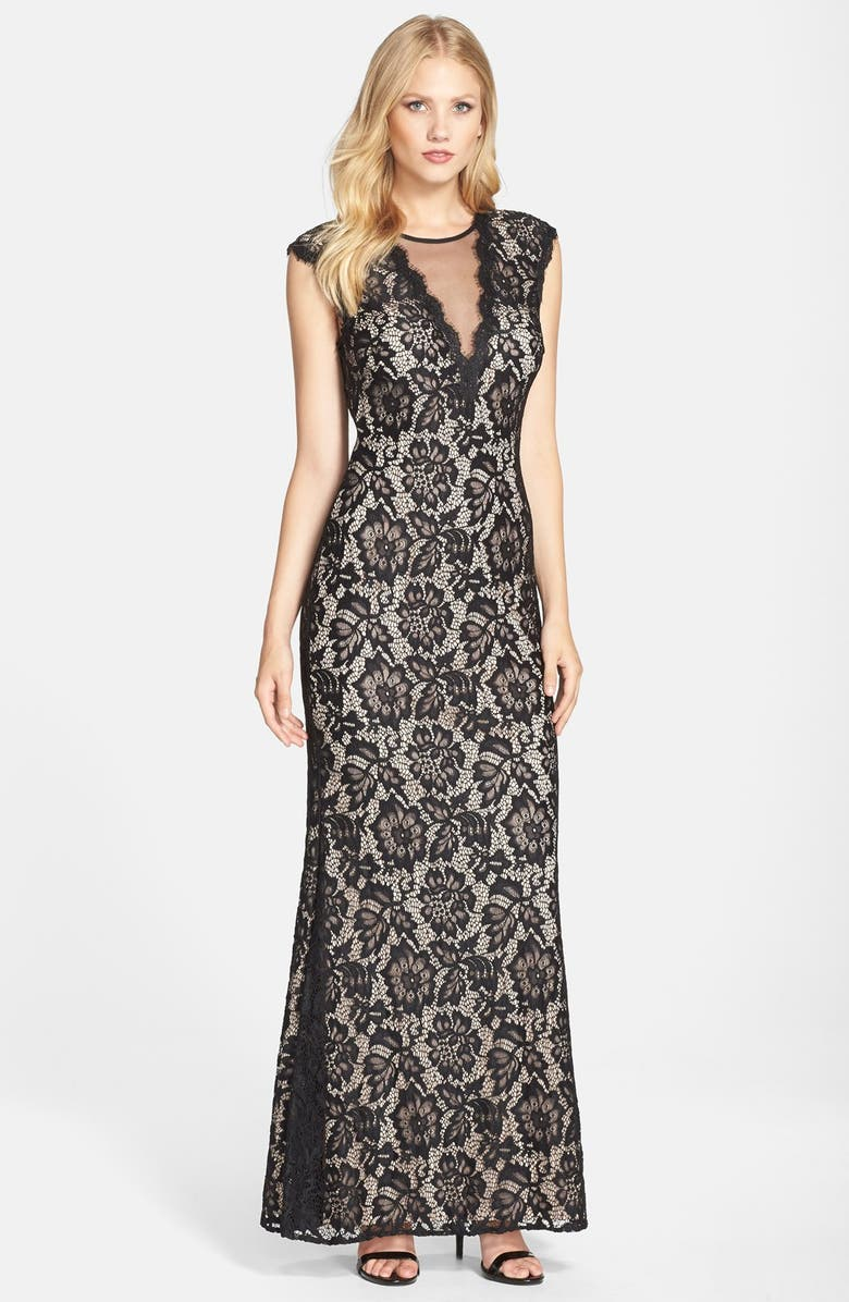 BETSY & ADAM Illusion V-Neck Lace Trumpet Gown, Main, color, BLACK/ NUDE
