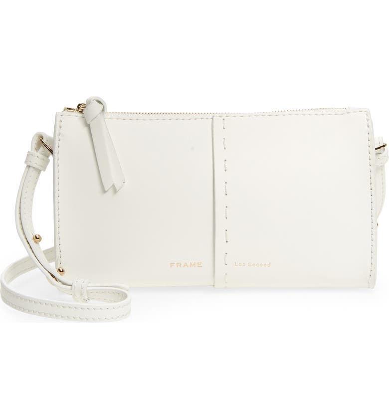 FRAME Les Second Leather Crossbody Wallet, Main, color, BIANCO