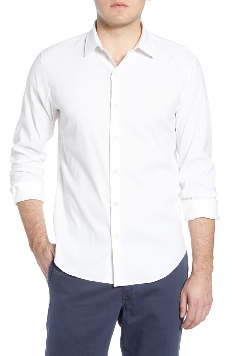 BONOBOS Solid Button-Up Performance Shirt, Main, color, 100