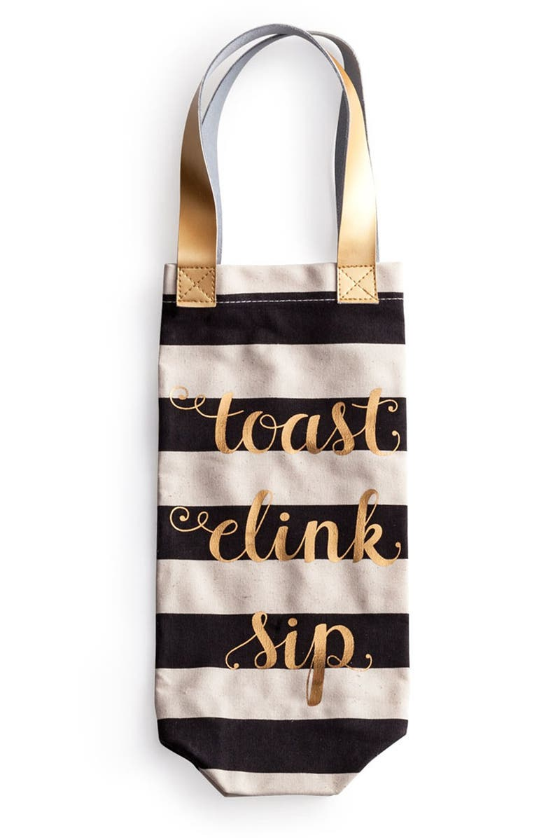 ROSANNA 'Toast Clink Sip' Canvas Wine Tote, Main, color, 100