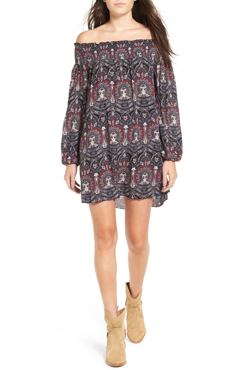 BAND OF GYPSIES Floral Print Off the Shoulder Shift Dress, Main, color, 001