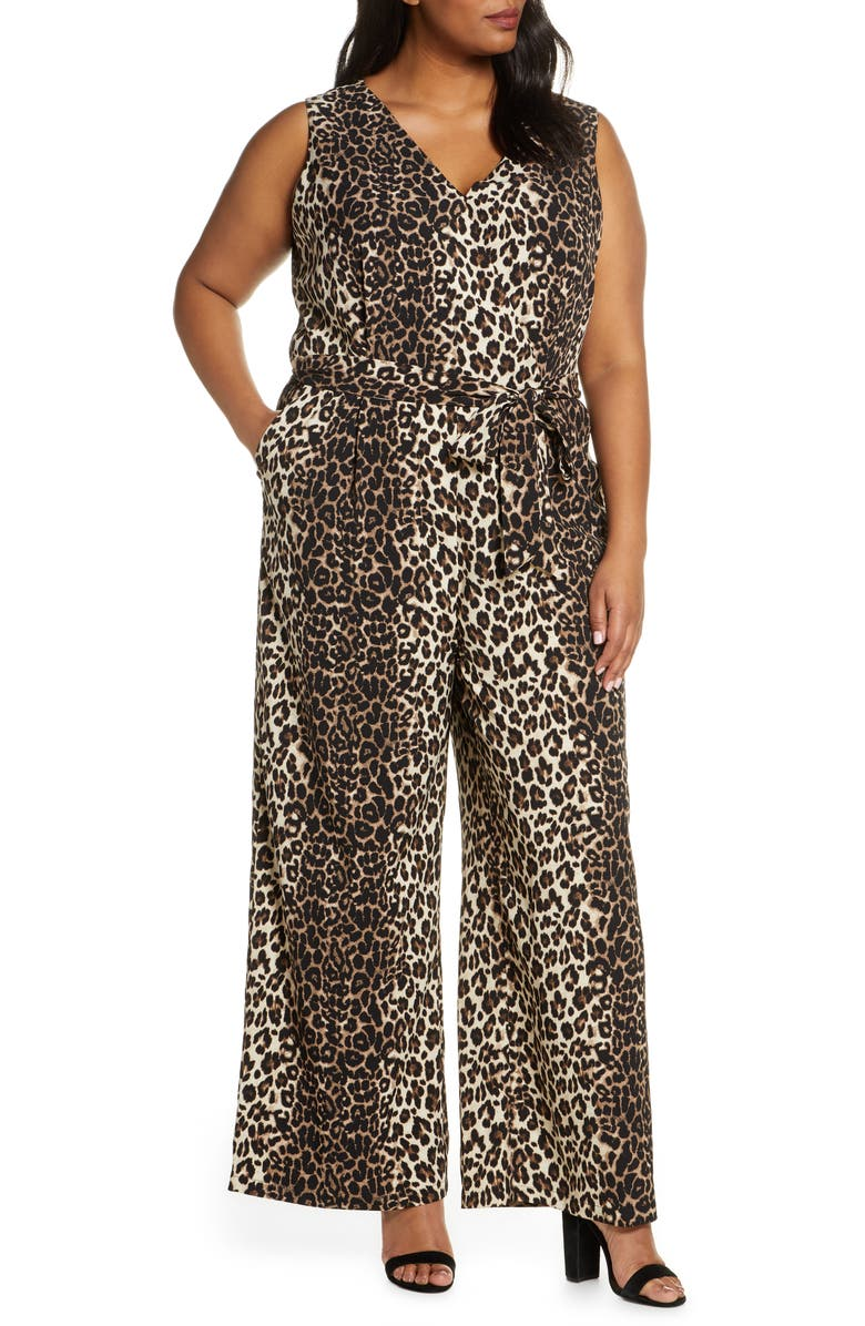 VINCE CAMUTO Leopard Print Sleeveless Jumpsuit, Main, color, 001