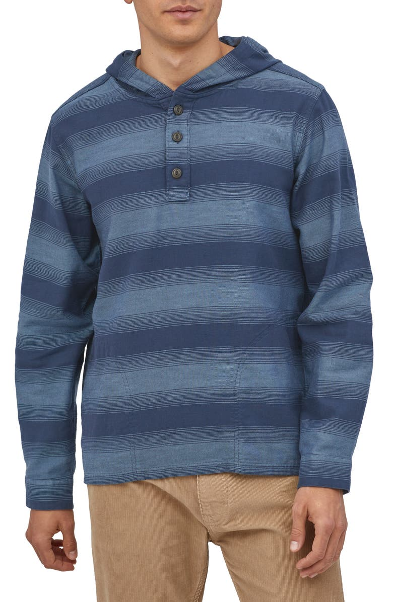 PATAGONIA Fjord Flannel Hoodie, Main, color, HORIZON OMBRE STONE BLUE
