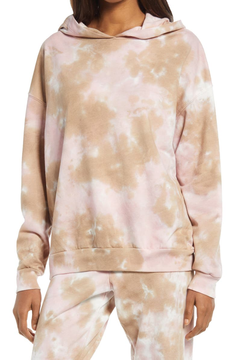 TREASURE & BOND Tie Dye French Terry Boyfriend Hoodie, Main, color, IVORY- PINK COMBO