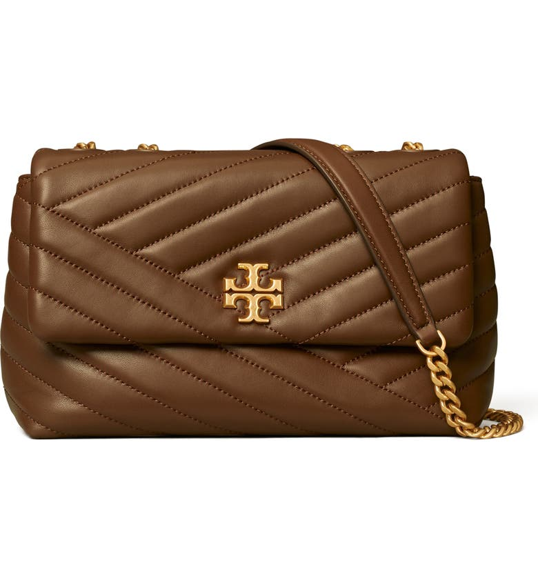 TORY BURCH Kira Chevron Quilted Small Convertible Leather Crossbody Bag, Main, color, FUDGE/ 59 ROLLED BRASS