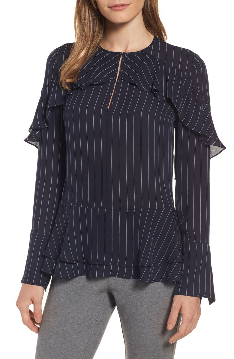 CLASSIQUES ENTIER<SUP>®</SUP> Bell Sleeve Pinstripe Silk Blouse, Main, color, NAVY STRIPE