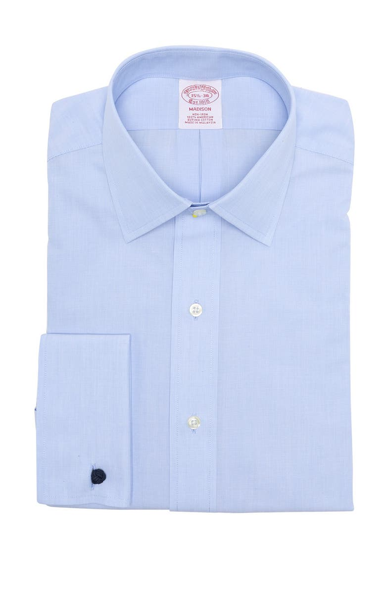 BROOKS BROTHERS Solid Madison Fit Dress Shirt, Main, color, LT BLUE