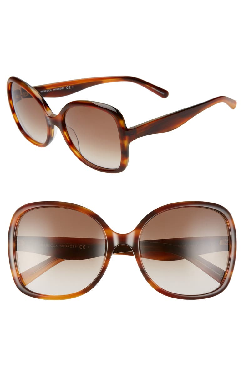 REBECCA MINKOFF Lark2 58mm Butterfly Sunglasses, Main, color, BROWN HORN/ BROWN GRADIENT